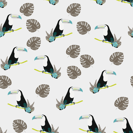 Tropical seamless pattern with toucan, flowers and leaves. A tropical forest with birds. Stylish tropical background with toucan.