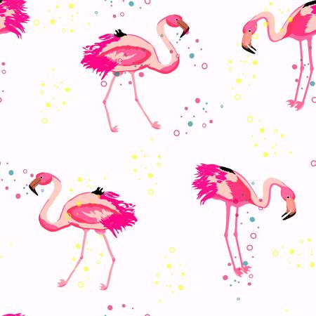 Flamingo and colored confetti on a white background tropical seamless pattern. Brazilian celebration with pink flamingo and round colored flying confetti endless pattern. 矢量图像