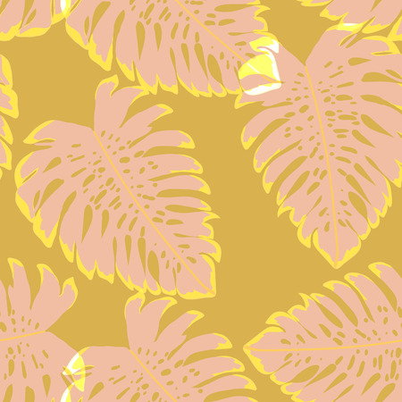 Tropical leaves monstera pattern. Tropical seamless pattern with leaf monstera.