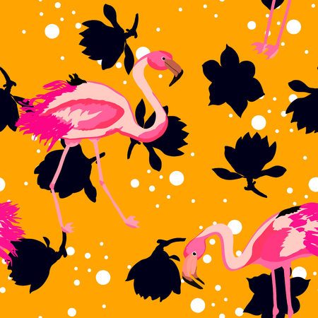 Pink flamingo tropical floral seamless pattern.Hibiscus flowers with exotic birds.Hawaiian background with flamingo and tropical plants. Illustration