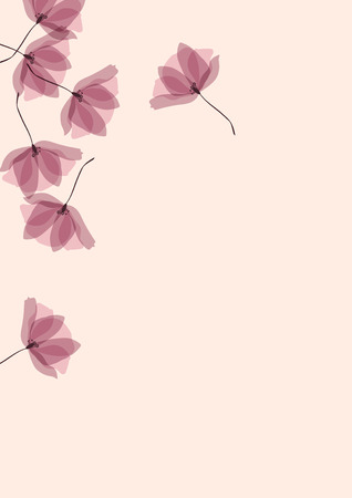 Gentle tropical flowers. Transparent petals on a pink background. Floral pattern in pastel colors.