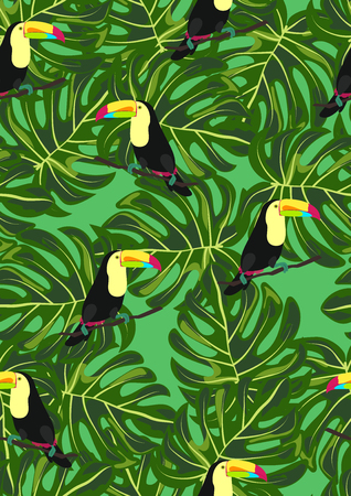 Toucan and tropical leaves seamless pattern. Stock Illustratie
