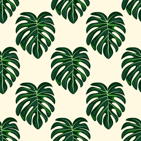 Blue tropical leaves monstera pattern. Tropical seamless pattern with leaf monstera. Vector Illustration