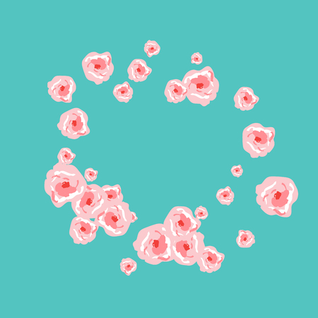 Floral Summer Poster With Pink Roses On A Blue Background. Romantic Background With Roses For Wedding And Greeting For Valentines Day.