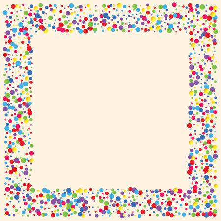 Fond de fête avec des confettis multicolores. Cercles jaunes, roses, bleus mais sur fond blanc. Confettis volants.