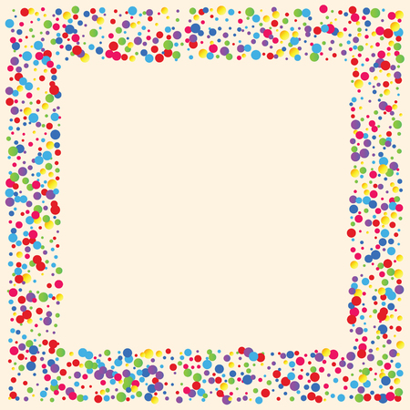 Sfondo festivo con coriandoli multicolori. Cerchi gialli, rosa, blu ma su uno sfondo bianco. Coriandoli volanti.