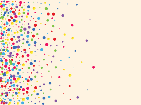 Festive background with multicolored confetti. Yellow, pink, blue circles but against a white background. Flying confetti.