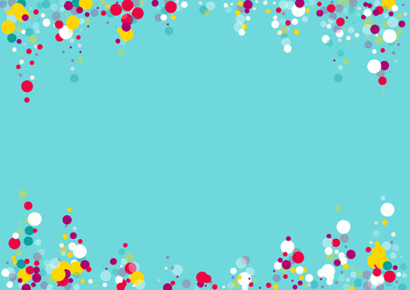 Flying multicolored confetti on a blue background. Red, pink, blue, yellow circles.