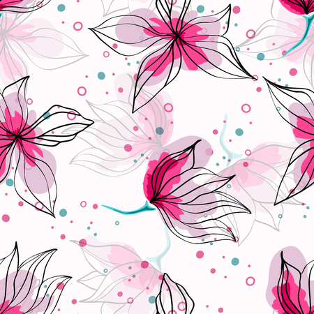 Pink hibiscus flowers tropical vector seamless pattern. Exotic pattern with delicate buds. Floral Hawaiian style textile background with flowers.