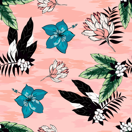 Hibiscus flowers and tropical leaves vector seamless pattern on a pink background. Black and white palm leaves. Turquoise hibiscus flowers. Textile exotic floral pattern. 矢量图像