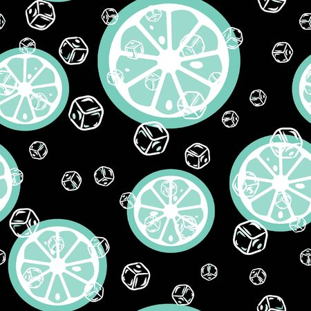 Fruit pattern with lemon and lime, ice cubes and mint leaves on a blue background. Stylish background with citrus for fabric, cover, plastic. Cold cocktail with lemon and lime. Freshness Banque d'images - 128181450