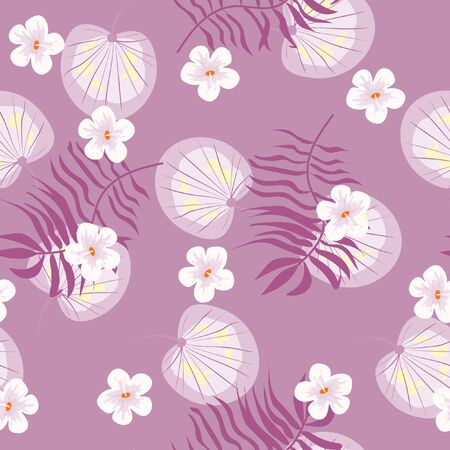 Summer seamless pattern with tropical flowers and leaves. Çizim