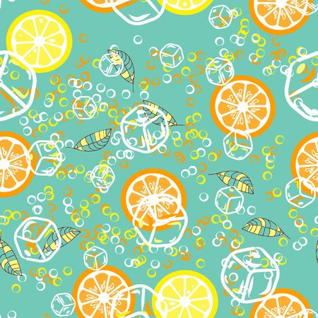 Fruit pattern with lemon and lime, ice cubes and mint leaves. Banque d'images - 128181456
