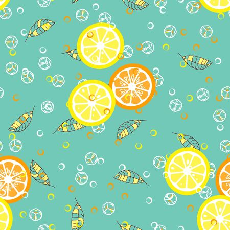 Fruit pattern with lemon and lime, ice cubes and mint leaves. Banque d'images - 128181454