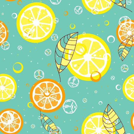 Fruit pattern with lemon and lime, ice cubes and mint leaves. Banque d'images - 128181457