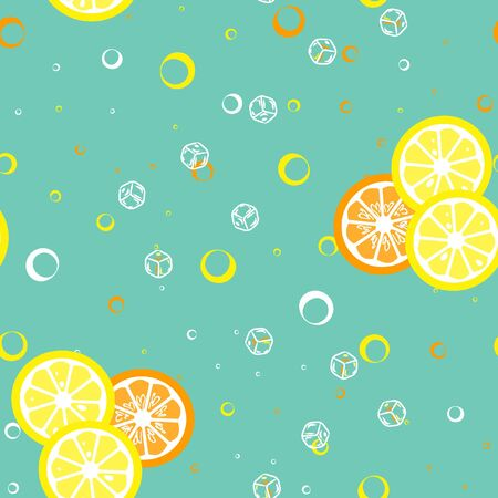 Fruit pattern with lemon and lime, ice cubes and mint leaves.