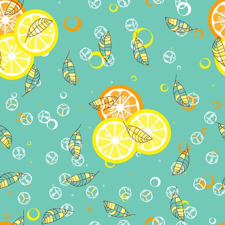 Fruit pattern with lemon and lime, ice cubes and mint leaves. Banque d'images - 128181460
