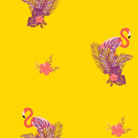 Beautiful tropical seamless pattern with flamingos and flowers. Summer background with flamingos and tropical plants. Birds of the jungle. Banque d'images - 127303230