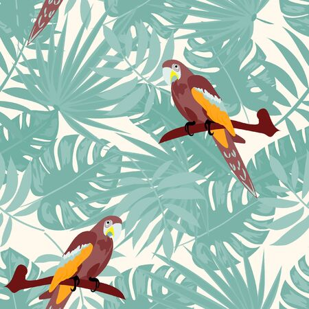 Beautiful tropical seamless pattern with parrot and leaves. Fashionable background with a parrot and flowers. Jungle. Tropical birds.