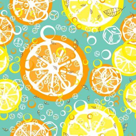 Fruit pattern with lemon and lime, ice cubes and mint leaves. Banque d'images - 128181466