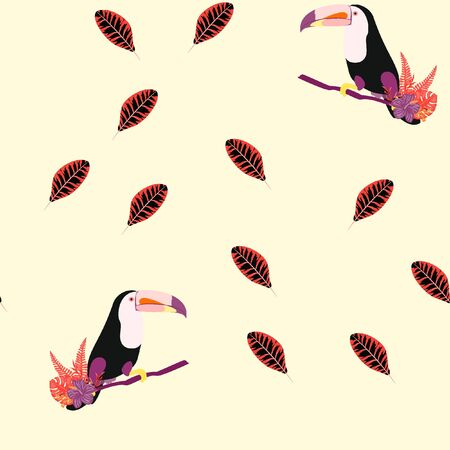 Tropical seamless pattern with toucan, flowers and leaves. A tropical forest with birds. Stylish tropical background with toucan. Banque d'images - 127303233