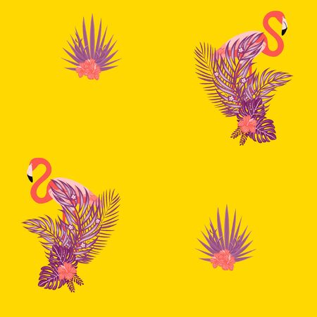Beautiful tropical seamless pattern with flamingos and flowers. Summer background with flamingos and tropical plants. Birds of the jungle. Çizim