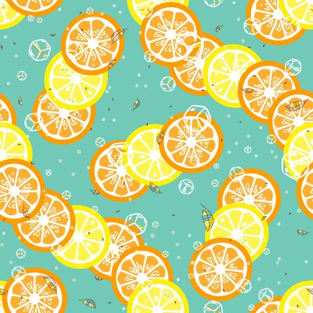 Fruit pattern with lemon and lime, ice cubes and mint leaves. Banque d'images - 128181474