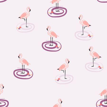 Isolated flamingo pattern. Çizim