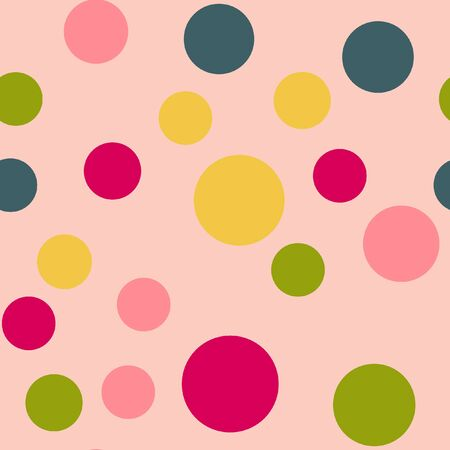 Bright memphis style polka dots seamless pattern on a light background.