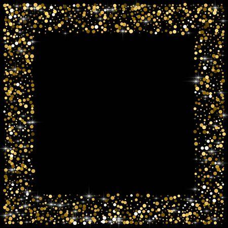 Sparkling glitter gold black. Small round shape on black background. Comely vector illustration. Çizim