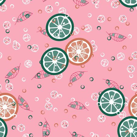 Fruit pattern with lemon and lime, ice cubes and mint leaves on a blue background. Stylish background with citrus for fabric, cover, plastic. Cold cocktail with lemon and lime. Freshness