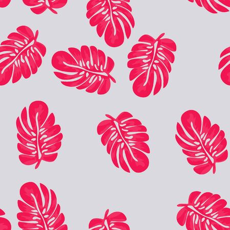 Background of tropical leaves. Tropical seamless pattern with leaves. Pink color.