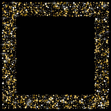 Sparkling glitter gold black. Small round shape on black background. Comely vector illustration. Banque d'images - 128181428