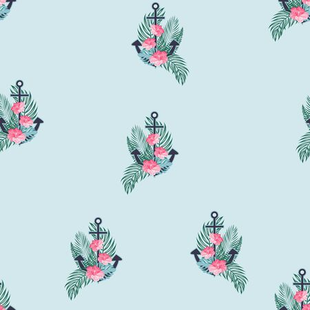 Marine seamless pattern with an anchor and flowers. Summer background with an anchor. Flowers at anchor.