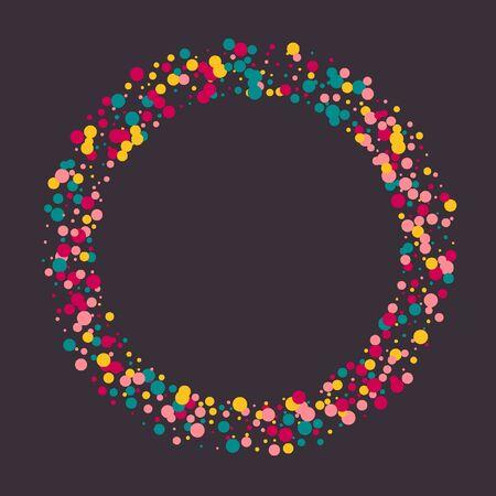 Bright memphis style polka dots on a dark background. Çizim