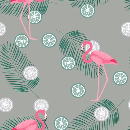 Tropical seamless pattern with flamingos, flower and citrus. Summer background with lemon, lime and flamingos. Birds of the tropics. Banque d'images - 128181424