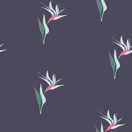 Beautiful tropical seamless pattern with flowers strelitzia. Summer background with tropical flowers on a blue background. Banque d'images - 128181429