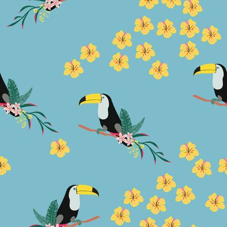Tropical seamless pattern with toucan, flowers and leaves. Beautiful background with tropical leaves and flowers. Birds of the jungle. For covers, paper, wallpaper and fabric. Çizim