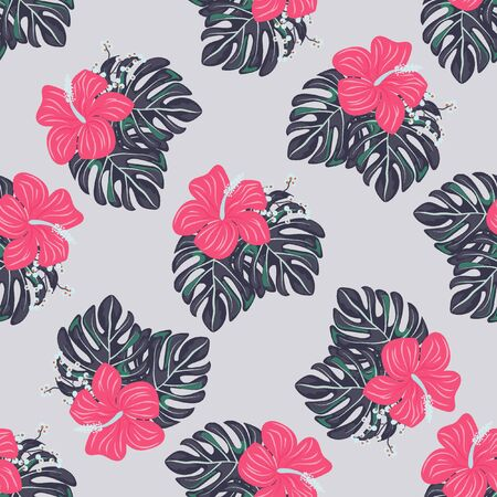 Seamless background with tropical flowers isolated. Banque d'images - 127730132