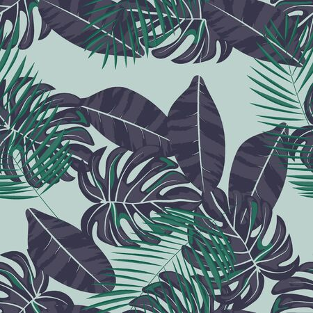 Tropical seamless pattern with leaves. Beautiful tropical isolated leaves. Fashionable summer background with leaves for fabric, wallpaper, paper, covers. Banque d'images - 127730133