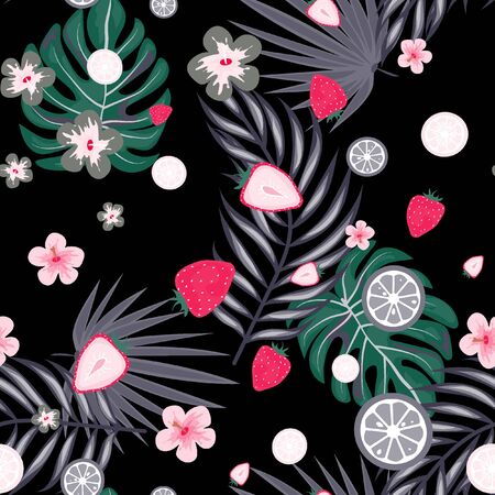 Tropical seamless pattern with strawberries, lemon, lime and tropical leaves. Bright fruit pattern with tropics. Background with fruits.