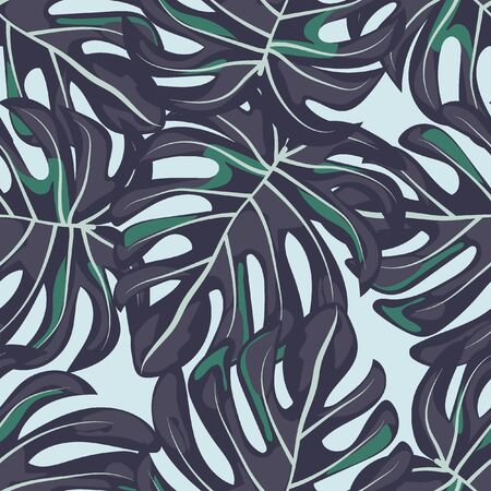 Tropical seamless pattern with leaves. Beautiful tropical isolated leaves. Fashionable summer background with leaves for fabric, wallpaper, paper, covers. Çizim