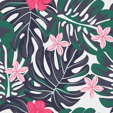 Seamless background with tropical flowers isolated. Çizim