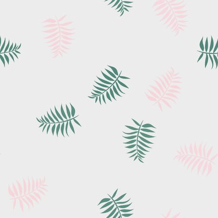 Tropical seamless pattern with leaves. Beautiful tropical isolated leaves. Fashionable summer background with leaves for fabric, wallpaper, paper, covers. Banque d'images - 127730147