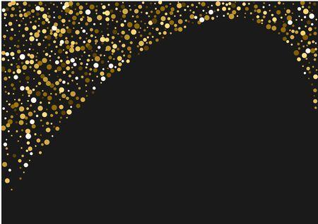 Gold Rain Vector Card. Abstract Round Illustration. Bright design. Gold Confetti Falling Illustration. Dot Transparent Banner.