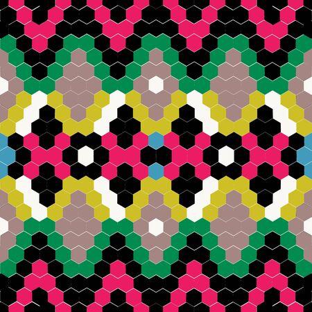 Colored mosaic imitation snake skin seamless pattern. Ethnic american rhombus background. Bright embroidery bargello american stylish background.