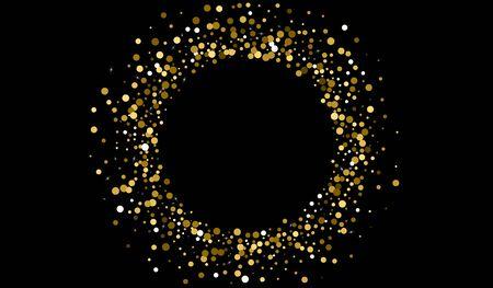 Black Confetti Anniversary Invitation. Rich Confetti Banner. Shiny Postcard. Gold Confetti Glamour Design. Confetti Paper Illustration.