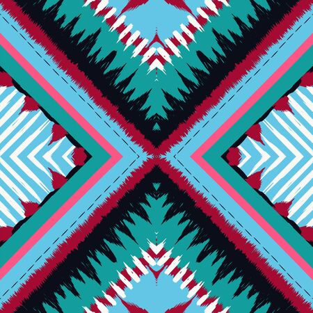 Blue Shibori Vector Seamless Pattern. Marine Arabic Carpet Uzbek Texture. Gloss Tribal Ogee Print. Cold Chevron Drawing Navajo Wallpaper. Indian Fashion Ornament