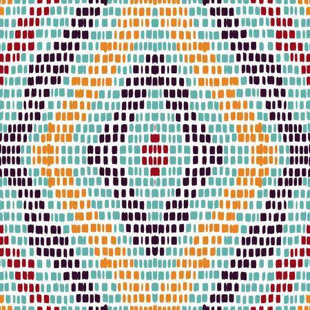 Cobalt Boho Carpet. Crimson Tribal Vector Seamless Pattern. Indian Tile Textile Background. Gloss Indian Geometric Wallpaper. Repeat Tile Japan. Illustration