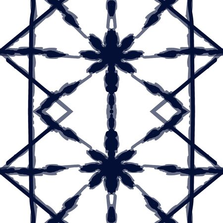 Coral Strip Vector Seamless Pattern. Ocean Ogee Batik Uzbek Texture. Scarlet Shibori Abstract Ornament. Azure Ikat Handmade Indian Print. Aztec Arabic Background